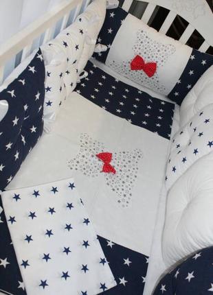Шикарный комплект в кроватку, с бортиками на 4 стороны + постель