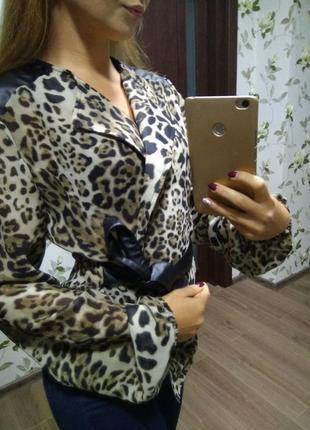 Блуза блузка  рубашка рубаха леопард