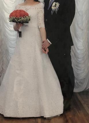 Свадебное платье белое рукав 3/4 белоснежное длинное гипюровое