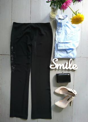 Сатиновые брюки с вышивкой высокий рост №319