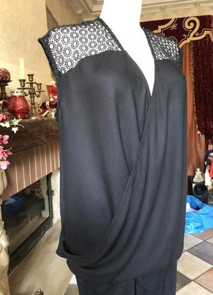Кофта, блуза чёрная  next, свободная без рукавов/кружево