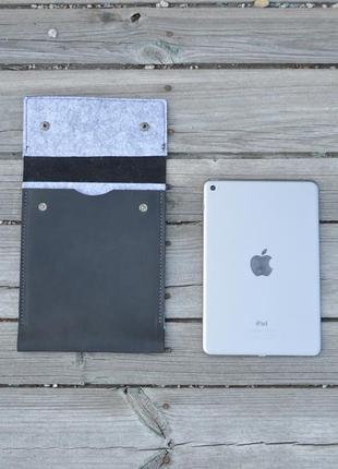 Кожаный чехол с фетром, hand made, ipad mini