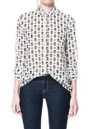 Zara шифоновая блуза - рубашка с черепами