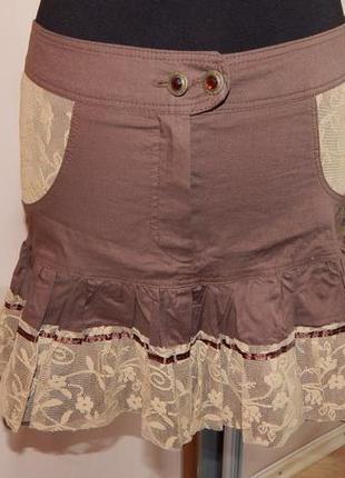 Милая коттоновая юбочка с кружевом
