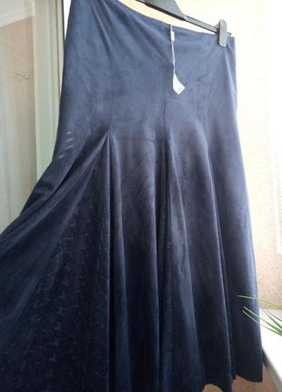 Красивейшая длинная юбка клиньями под замшу