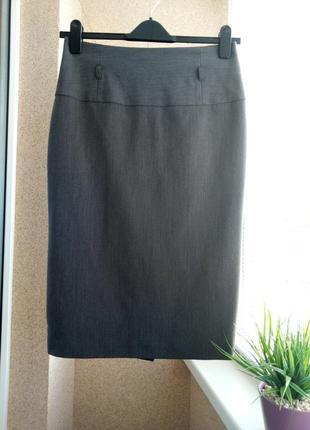 Классическая юбка - карандаш миди серого цвета