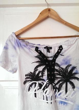Стильна котонова футболка з шнурівкою, відкритими плечима від river island, на р. xs/s