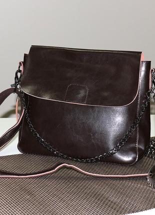 Красивая вместительная сумочка, клатч из натуральной кожи