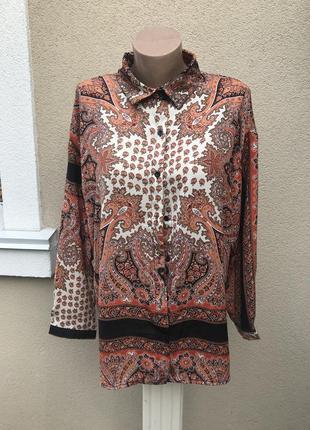 Новая блузка,длинный рукав,рубаха в восточный,этно принт огурцы, boohoo