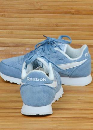 Кроссовки пудрово синие замшевые в стиле reebok classic4 фото