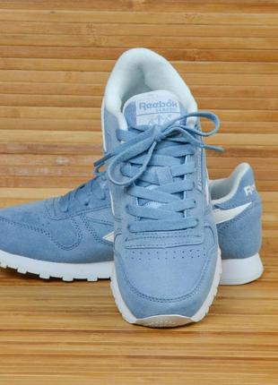 Кроссовки пудрово синие замшевые в стиле reebok classic3 фото