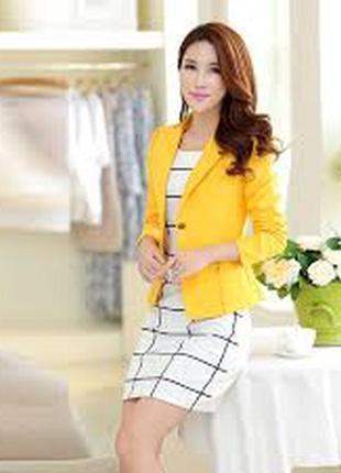 Яркий желтый коттон пиджак приталенный размер s-m