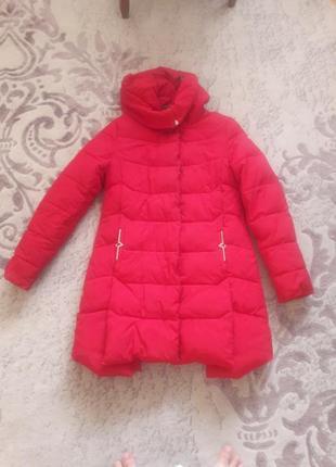 Зимняя куртка пуховик красная с (42)