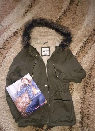 Куртка парка хаки tally weill в идеальном состоянии. всего 800 грн
