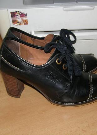 Кожаные демисезонные ботинки kickers 39-38 размер стелька 25см