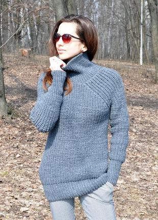 Вязаный свитер-кокон в стиле