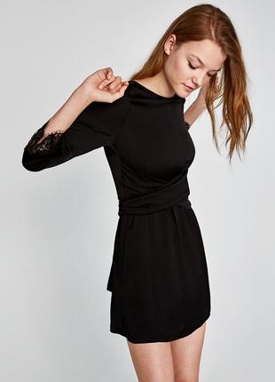 Платье с отделкой кружевом zara