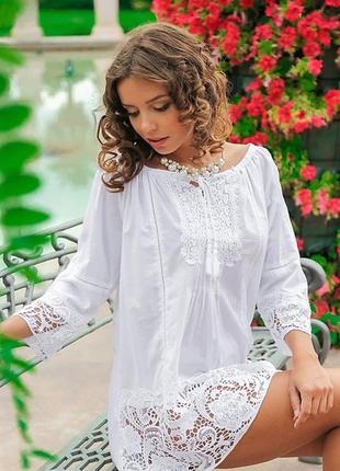Кружевная пляжная туника рубашка платье удлиненная испания с рукавом хлопок 48 50