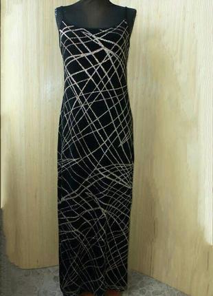 Французское шелковое чёрное с золотом  вечернее длинное платье
