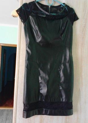 Плаття нарядне коротке кожа