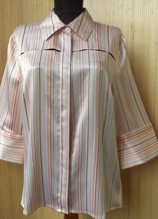 Атласная блуза в полоску в деловом стиле  milano