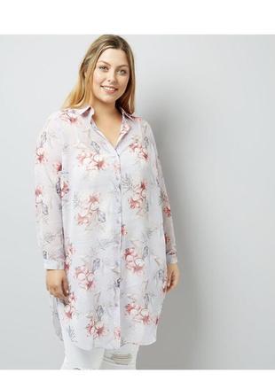 Безумно красивая удлиненная блуза в цветах, рубашка шифоновая, туника