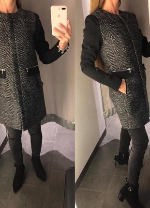 Классическое твидовое пальто amisu деми пальто с круглым воротом xs-xl