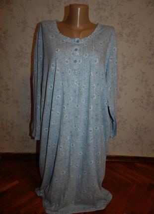 Marks&spencer ночнушка трикотажная, домашнее платьеце р24-26 большой размер