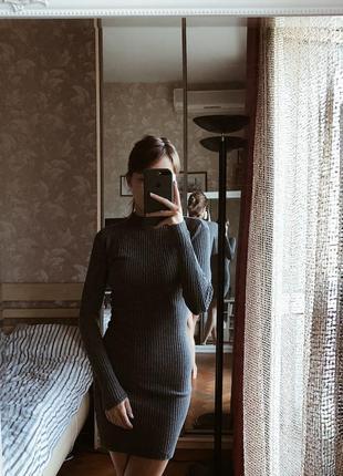 Платье по фигуре в рубчик на осень atm 34
