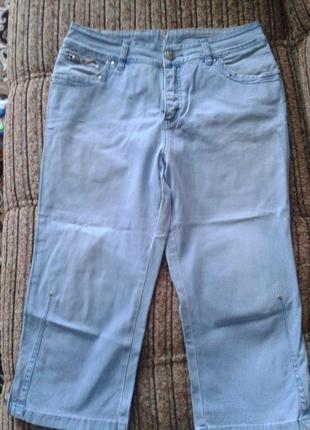 Голубые  джинсовые бриджи