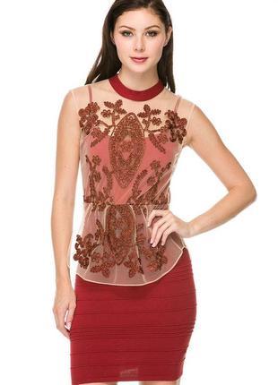 Вечернее платье wow couture бандажное сетка баска вышивка размеры m, l