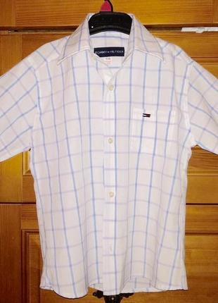 Рубашка в клеточку короткий рукав tommy hilfiger