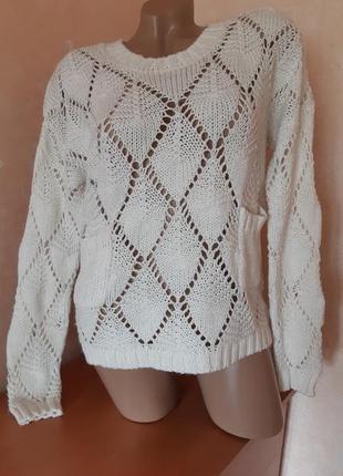 Ажурный свитер/джемпер с карманами кремового цвета с приспущенными плечами