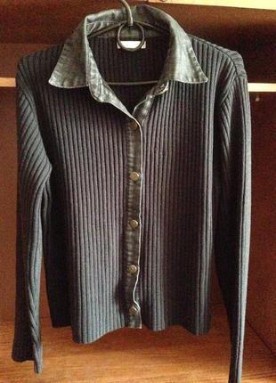 Кофта женская бренда promod на пуговицах и джинсовыми вставками