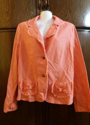 Бомбезный пиджак-бренд--dunnes stores--лен\котон-14-16р
