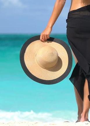 Пляжное черное парео с рюшами,  платье, юбка, накидка, платок