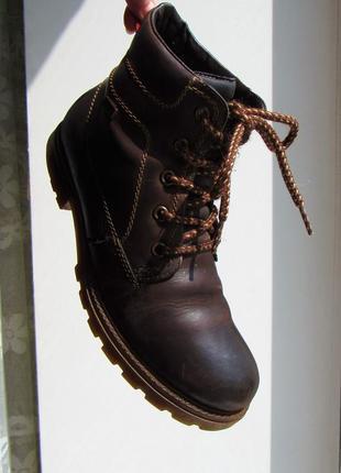 Ботинки зимние тёплые коричневые низкие однотонные удобные под timberland