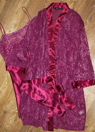 Комплект ночная рубашка и халат, ночнушка, халатик, пеньюар