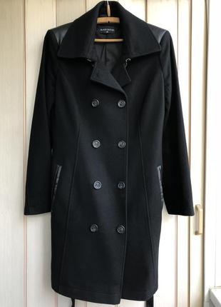 Полушерстяное пальто с кожаной отделкой 46 укр.р.