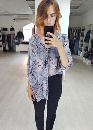 Легкая серая блуза с цветочным узором new look