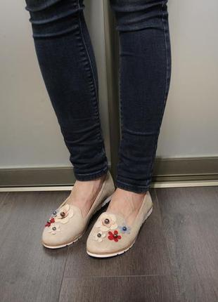 Очень милые и удобные женские балетки (туфли, мокасины) с цветочками