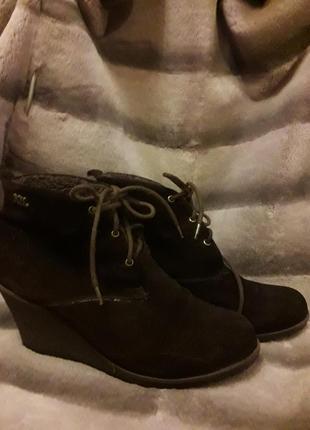 Ботинки замшевые коричневые с утеплителем внутри