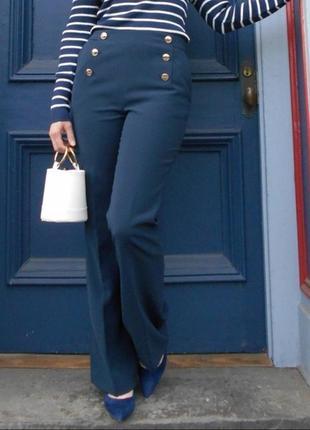 Морские синие классические брюки клеш с карманами высокая посадка h&m