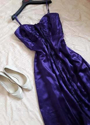 Вечернее платье в пол цвета ультрафиолет coast, 100% шелк