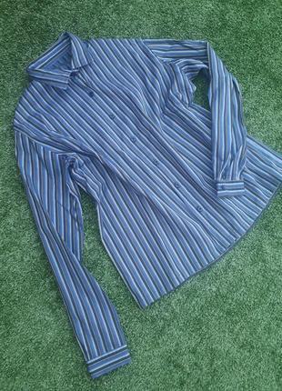 Стильная универсальная синяя рубашка в полоску сорочка