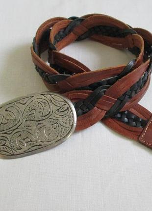 Оригинальный кожаный ремень с винтажной бряжкой