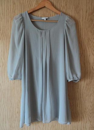Платье пышным рукавом мятное беременных свободное мини короткое три четверти а-образного