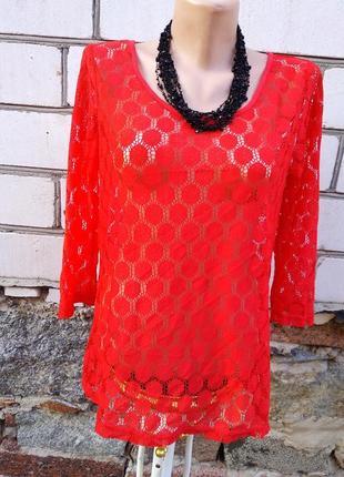 Гипюровая красная блуза only