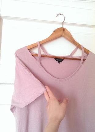 Актуальна віскозна ніжно рожева футболка від new look, на р. xl/2xl