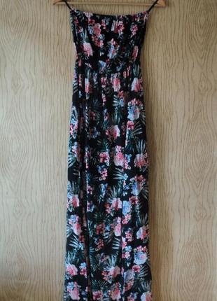 Платье сарафан открытыми плечами длинный цветочек цветочный тропический принт пляжный